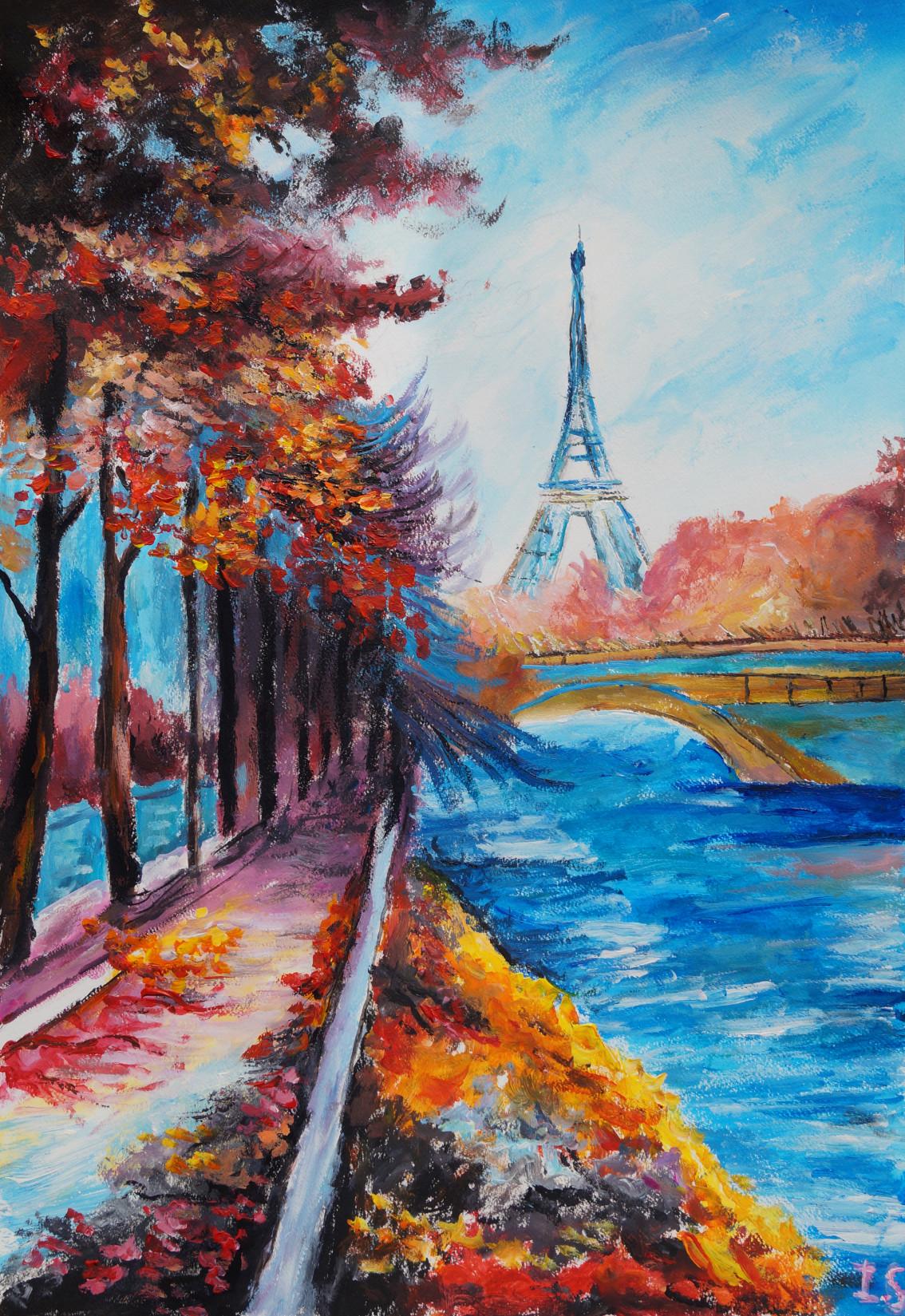 La Tour Eiffel Depuis Les Quais Boises En Automne Les Peintures D Isabelle