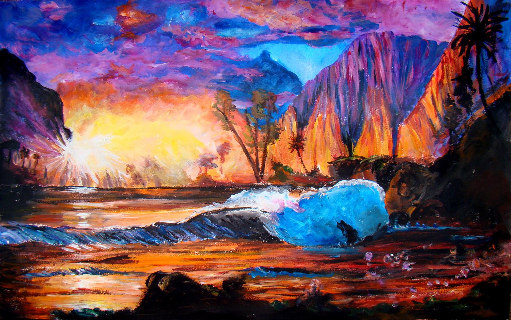 Paysages les peintures d 39 isabelle - Photo coucher de soleil montagne ...