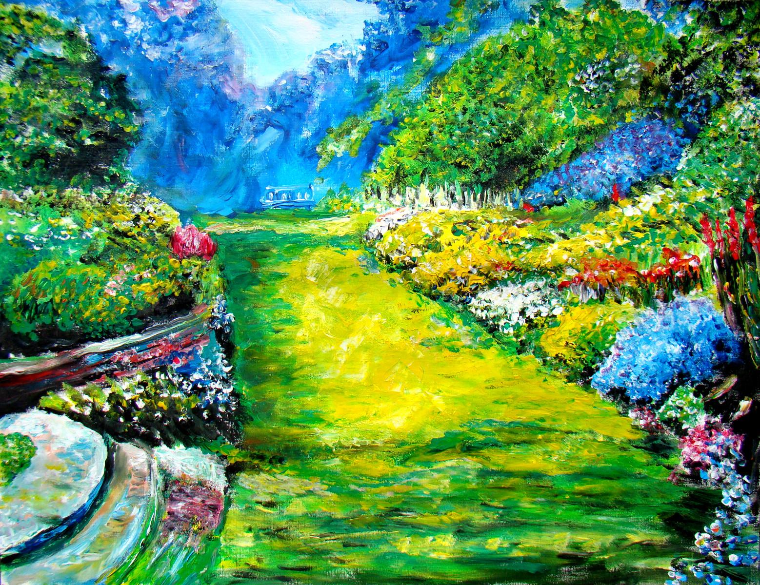 Une allée fleurie vers un banc | Les peintures d\'Isabelle