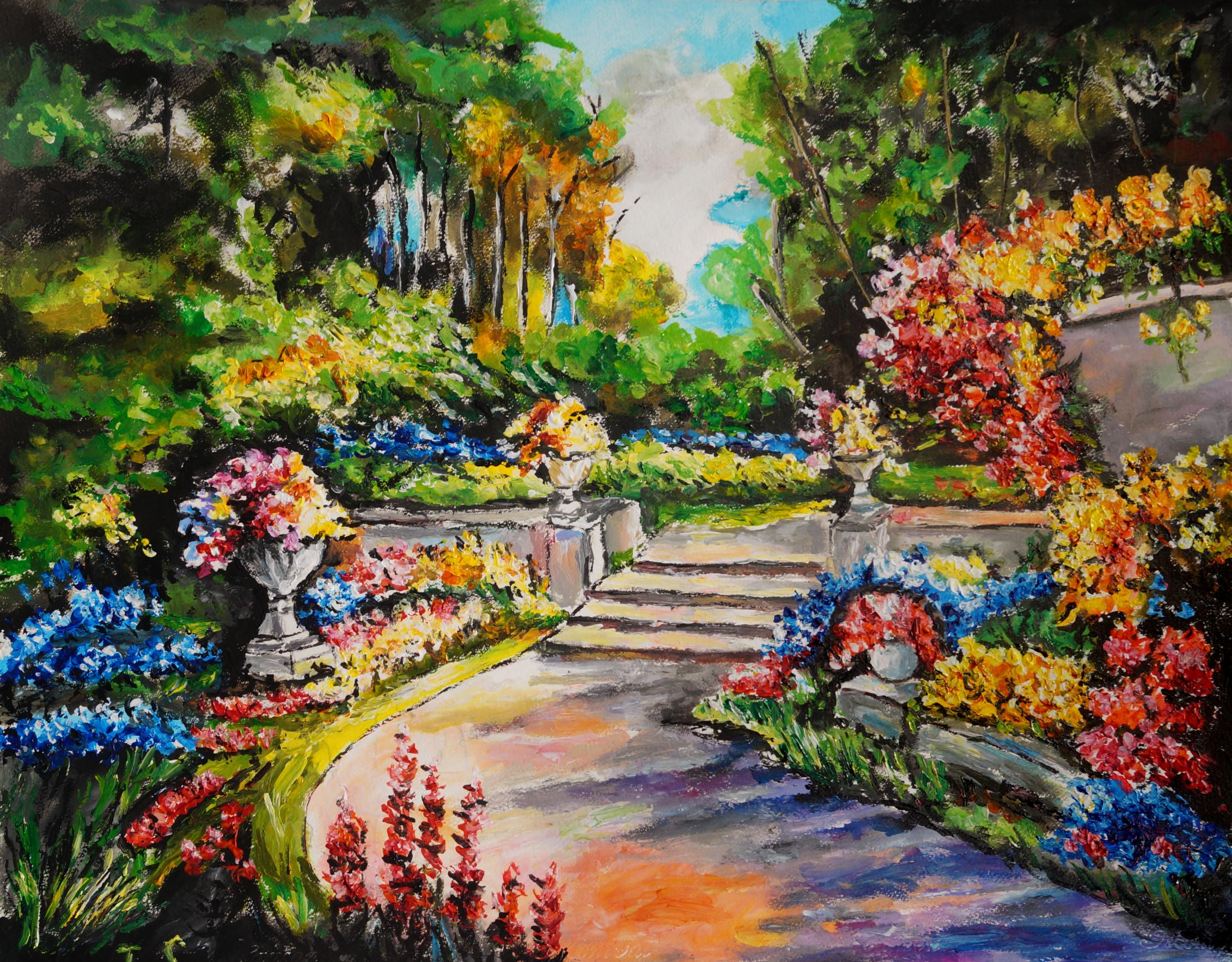 un escalier dans un jardin fleuri sous les arbres les peintures d 39 isabelle. Black Bedroom Furniture Sets. Home Design Ideas