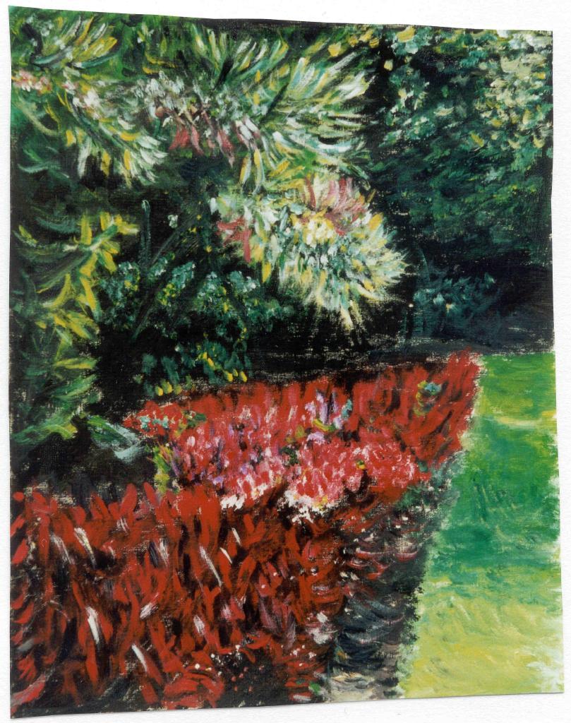 une haie de fleurs rouges les peintures d 39 isabelle. Black Bedroom Furniture Sets. Home Design Ideas
