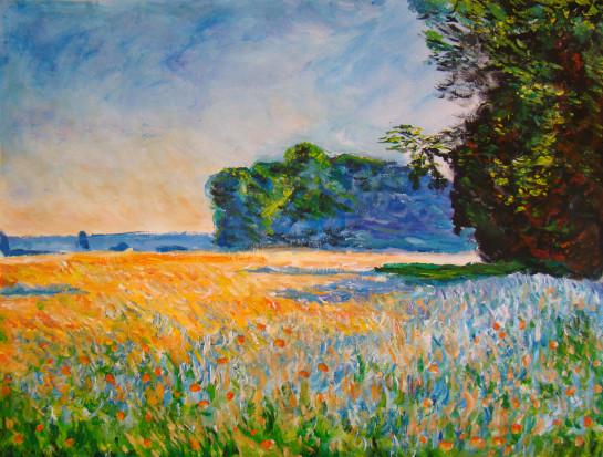 Un champ d\'avoine avec des coquelicots   Les peintures d\'Isabelle